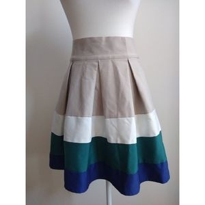 ZARA BASICS Color Block Pleated Skirt XS